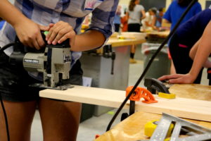 Many campers learn how to use tools for their first time at Rosie's Girls.